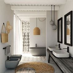 Relaxed but sleek summer bathroom. Image via @decorsity #holidays #bathroom #bathroomstyling #bathroomproducts #grey #stone #summer #bath #design #luxury