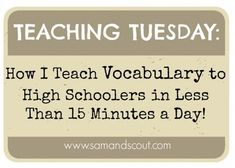 Learn strategies for teaching vocabulary in less than 15 minutes a day. This article and method is tailored towards SAT vocabulary. Vocabulary Strategies, Vocabulary Instruction, Teaching Vocabulary, Vocabulary Activities, Teaching Strategies, Teaching Reading, Vocabulary Cards, Teaching Resources, Teaching Ideas