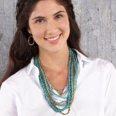 Turq + Patina Multi Strand Bib Necklace Find and buy here: https://www.chloeandisabel.com/boutique/emilyryan#28166