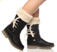 fur lined womens boots | Women's Flat Heeled Fur Lined Boots. | Glamorous Clothing