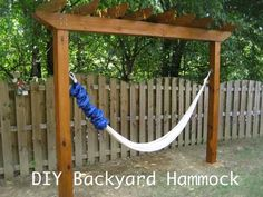 Want to relax (ok…snooze) in an outdoor hammock? Of course! Who doesn't, right?! We found this tutorial on you can build your own backyard hammock without tethering each end of the hammock to a tree. Click Here For DIY Backyard Hammock
