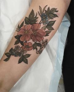 Neo-Traditional Floral Tattoo by Sophia Baughan
