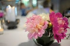Image result for wedding table settings with candles and peonies