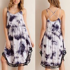 JANESSA tie dye midi dress - NAVY Tie dye midi dress featuring fringed bottom hem and back cross over strap detailing. Lined skirt. Non-sheer.Woven. Light weight **PLEASE NOTE THAT EACH GARMENT HAS ITS OWN UNIQUE PATTERN AND WILL VARY IN COLOR ** 100%RAYON Bellanblue Dresses Midi