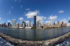 Roosevelt Island, Midtown East Skyline, Fisheye, New York City, United States Roosevelt Island, New York City, New York Skyline, United States, Canada, The Unit, Usa, Travel, Viajes