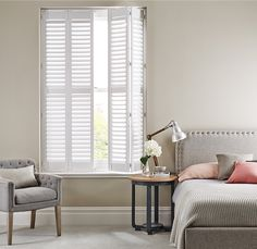 Shutters are the perfect combination of style and functionality, helping to reduce noise levels and maintain a comfortable temperature Wooden Shutter Blinds, Wooden Shutters, Noise Levels, Wood Crafts, It Is Finished, House Design, Colours, Pure Products, Bed