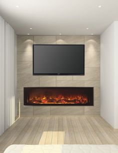Glowing Electric Fireplace with Wood Hearth and Mantel | Wall tv ...