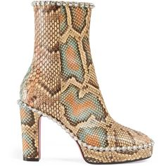 Gucci Python Ankle Boot With Crystals ($3,650) ❤ liked on Polyvore featuring shoes, boots, ankle booties, multicolor, side zipper boots, snake print booties, pink platform boots, pink ankle boots and side zip boots