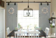 barn shutters over interior windows The Pink Tumbleweed used old doors as a sliding barn door style window Sliding Door Window Treatments, Window Treatments Living Room, Living Room Windows, Window Coverings, Vintage Window Treatments, Country Window Treatments, Barn Door Window, Window Shutters, Door Curtains
