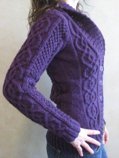 Delicious Knits - Blackberry Cabled Cardigan