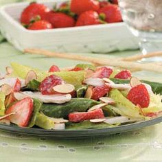 Salads with fruit in them! delicious with a fruit vinaigrette. (Strawberry and chicken on this one)