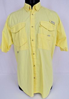 Columbia PFG Fishing Shirt Mens L Yellow Sun Glass Loof Vented Button Up Wicking #Columbia #ButtonFront