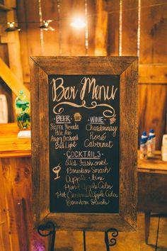 Rustic chalk menu | Apple Theme wedding |Abby & Nate | Barn at Cedar Grove | Caleb Irvin Photograhy