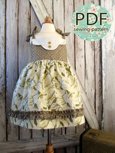 Adele - Twirl Vintage Style Dress Pattern. Girl's Sewing Pattern. Toddler Dress Pattern. PDF Pattern Sizes 1-8. $7.50, via Etsy.  *like the front embellishment.*