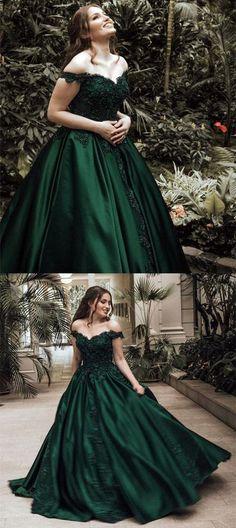 Sexy Off Shoulder Appliques Evening Dress Ball Gowns,Hunter Green Prom Dress,MB 397