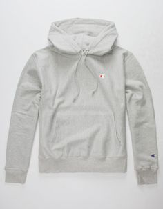 in a medium Grey Champion Hoodie, Champion Reverse Weave Sweatshirt, Champion Pullover, Grey Hoodie, Fleece Hoodie, White High Waisted Jeans, Mens Sweatpants, Sweatpants Outfit, Hoodie Outfit