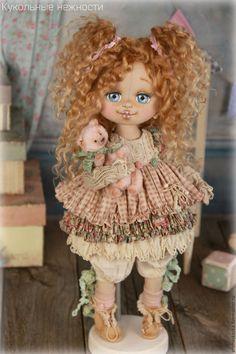 Купить Аукцион !!! Малышка Шебби . Кукла авторская текстильная - кремовый, розовый, розы, белый
