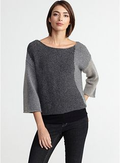 Bateau Neck Box-Top with 3/4 Sleeves in Mo-Air I eileen fisher | knit sideways