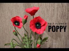 Felt Flowers, Diy Flowers, Fabric Flowers, Paper Flowers, Paper Crafts For Kids, Felt Crafts, Felt Flower Tutorial, Material Flowers, Poppy Youtube
