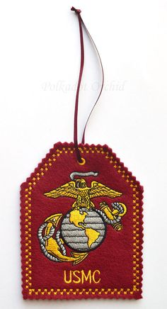Embroidered USMC Christmas Ornament. All #USMC duty stations available.