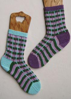 Knit Sock Pattern:  Mismatched Window Pane by WearableArtEmporium