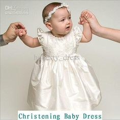 Wholesale 2013 Chic Off White Lace Beaded Christening Baby Dresses Cap Sleeve Bowknot Tea Length Bateau Ruffles A Line Taffeta With A Headwear Or Cap, Free shipping, $111.36/Piece | DHgate