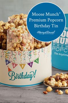 Celebrate a birthday with a tin of Moose Munch! It's not just everyone's favorite snack, it's a perfect birthday gift too! This tin gift includes favorite flavors like classic caramel, milk chocolate, and dark chocolate, as well as our specially crafted birthday cake flavor made with colorful confetti. It all comes in a decorative keepsake tin.
