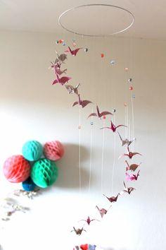 "Mobile bébé origami ""Spirale"", Rose, gris, beige - 18 Grues et Perles"