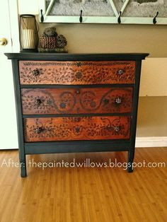 Furniture Gallery: tons of before and after DIY furniture redo ideas including this Miss Mustard Seed inspired antique dresser painted black #antiquefurniture