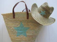 Ibiza stro hoed en rieten tas ster in 6 kleuren