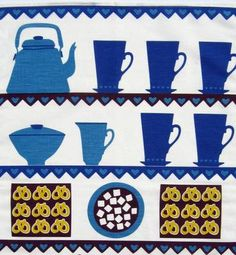 scandinavian tea towel 50s vtg design fabric Louise Fougstedt Coffee and Cake
