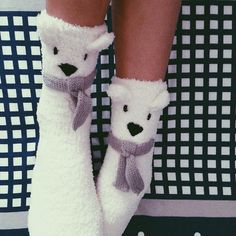 Fluffy socks to keep my feet warm! Thanks fishie! #EtamSG #polarbearsocks