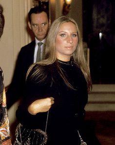Barbra Streisand at a 1970 Valentino fashion show in New York.
