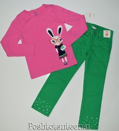 Gymboree Brightest in Class Embroid Bunny Top Rhinestone Jeans Set 7 6 NWT sl1-2 #Gymboree