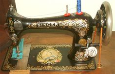Singer Sewing Machine 27K (1897) with Queen Victoria's Diamond Jubilee decals based on the Tiffany decal design.  Photos: London Sewing Machine Museum