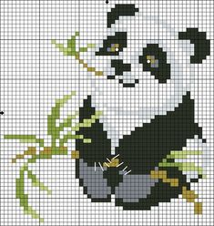 panda cross-stitch no color chart available, just use pattern chart as your color - Knitting Beaded Cross Stitch, Cross Stitch Charts, Cross Stitch Designs, Cross Stitch Embroidery, Cross Stitch Patterns, Modele Pixel Art, Pixel Pattern, Cross Stitch Animals, Tapestry Crochet