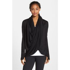 Zella 'Neo' Wraparound Cardigan ($68) ❤ liked on Polyvore featuring tops, cardigans, black, black wrap cardigan, shawl collar cardigan, drape cardigan, drape top and wrap top