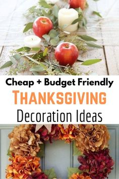 DIY Thanksgiving Decorations for your Home! Be inspired by these cheap and easy thanksgiving decorations on a budget. Find dollarstore items to create tablescapes, centerpieces, and other home decorations. Cheap Thanksgiving Decorations, Thanksgiving Table Settings, Diy Thanksgiving, Thanksgiving Centerpieces, Holiday Decorations, Frugal Living, Tablescapes, Fall Decor, Budget