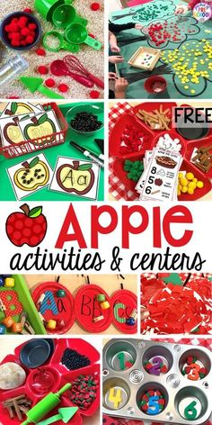 Apple Activities and Centers for fall or back to school your preschool or pre-k kiddos will LOVE.  Pocket of Preschool Preschool Apple Theme, Fall Preschool Activities, Preschool Lessons, Preschool Learning, Toddler Activities, Preschool Apples, Letter Activities, Learning Activities, Preschool Readiness