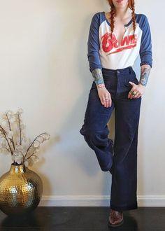 The Rolla's Admiral Cord Sailor Pants + the Daydreamer LA Bowie Diamond Dogs Tour '74 tee! shopblacksalt.com
