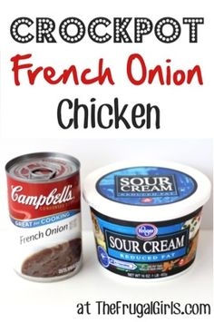 This Crockpot French Onion Chicken Recipe is a must try - boneless chicken breasts smothered in your favorite flavors of rich, creamy French Onion Soup!