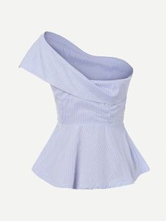 Shop Foldover One Shoulder Bow Front Peplum Top online. SheIn offers Foldover One Shoulder Bow Front Peplum Top & more to fit your fashionable needs. Cute Summer Outfits, Stylish Outfits, Cute Outfits, Fashion Outfits, Blouse Styles, Blouse Designs, Fashion Line, Fashion Looks, Tops Peplum