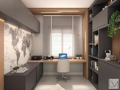 Modern grey home office with light wood accents. Simple and modern home office design using grey cabinetry and light wood accents. Home Office Setup, Home Office Space, Home Office Desks, Office Ideas, Office Bags, Workspace Desk, Office Decor, Modern Office Design, Office Interior Design