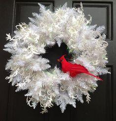 Winter White Christmas Wreath, holiday wreath with Cardinal, Christmas Door Wreath