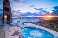 Outdoor Swimming Pool And Jacuzzi At Sunset Hotel Arakur Ushuaia Resort Spa Tierra Del Fuego Patago