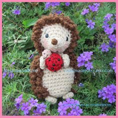 Hedgehog with Little Friend Ladybug  Amigurumi by handmadekitty, $4.99