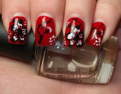Black and White and Red All Over Floral Nails