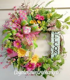 Summer Welcome Butterfly Grapevine Mesh Wreath, Daisy Grapevine Wreath, Butterfly Grapevine Wreath, Summer Mesh Door Wreath, Welcome Wreath by CoyoteCountryMarket on Etsy