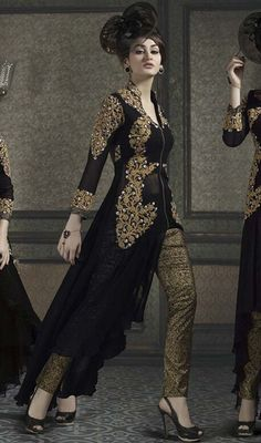 Look radiant and ravishing in this black color embroidered georgette pant style suit. It is uniquely crafted with lace and resham work.  #georgetteembroidereddresses #blackstraightpantstylesuits #attractiveembroidereddesignerwears