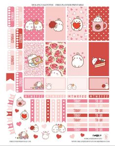 Free Printable Molang Valentine Planner Stickers by Organized Potato